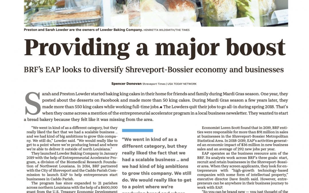 BRF'S EAP LOOKS TO DIVERSIFY SHREVEPORT-BOSSIER ECONOMY AND BUSINESS